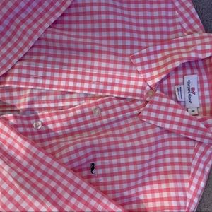 Brand new pink gingham button down